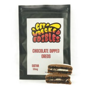Buy Get Wrecked Edibles – Chocolate Dipped Oreo Cookies 50mg THC (Sativa) online Canada