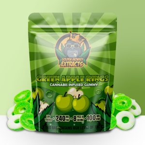 Buy Golden Monkey Extracts – Green Apple Rings Gummy 240mg THC : 100mg CBD online Canada