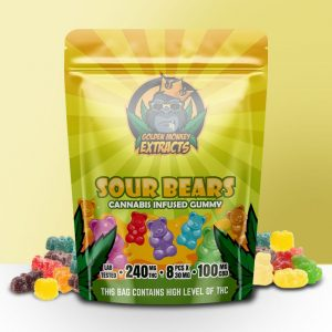 Buy Golden Monkey Extracts – Sour Bears Gummy 240mg THC : 100mg CBD online Canada