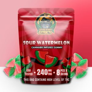 Buy Golden Monkey Extracts – Sour Watermelon Gummy 240mg THC online Canada