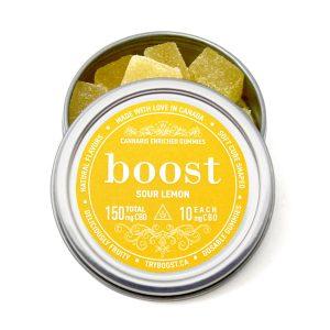 Buy Boost Edibles – CBD Gummies – Sour Lemon – 150mg online Canada
