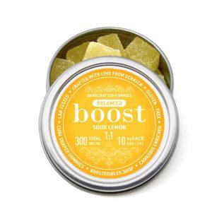 Buy Boost Edibles – THC:CBD Gummies – Sour Lemon – 300mg online Canada