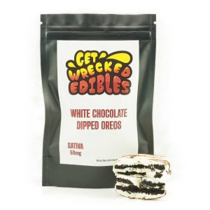 Buy Get Wrecked Edibles – White Chocolate Dipped Oreo Cookies 50mg THC (Sativa) online Canada