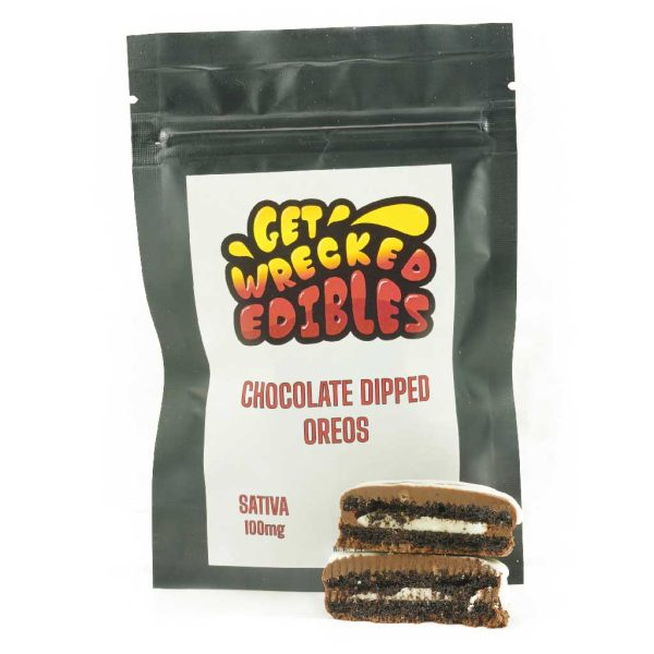 Buy Get Wrecked Edibles – Chocolate Dipped Oreo Cookies 100mg THC (Sativa) online Canada