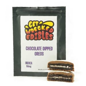 Buy Get Wrecked Edibles – Chocolate Dipped Oreo Cookies 50mg THC (Indica) online Canada