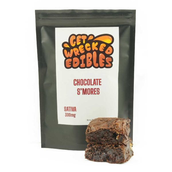 Buy Get Wrecked Edibles – Chocolate S'mores Brownie 300mg THC (Sativa) online Canada