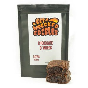 Buy Get Wrecked Edibles – Chocolate S'mores Brownie 50mg THC (Sativa) online Canada