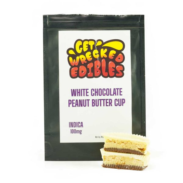 Buy Get Wrecked Edibles – White Chocolate Peanut Butter Cup 100mg THC (Indica) online Canada