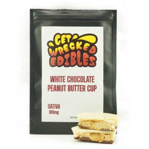 Buy Get Wrecked Edibles – White Chocolate Peanut Butter Cup 100mg THC (Sativa) online Canada