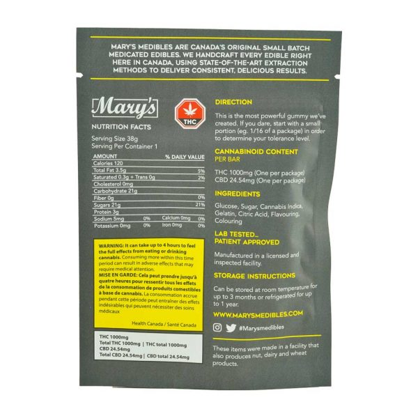 Buy Mary's Medibles Gummy Bar Ludicrous Strength 1000mg Indica online Canada