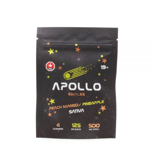 Buy Apollo Edibles – Peach Mango/Pineapple Shooting Stars 500mg THC Sativa online Canada
