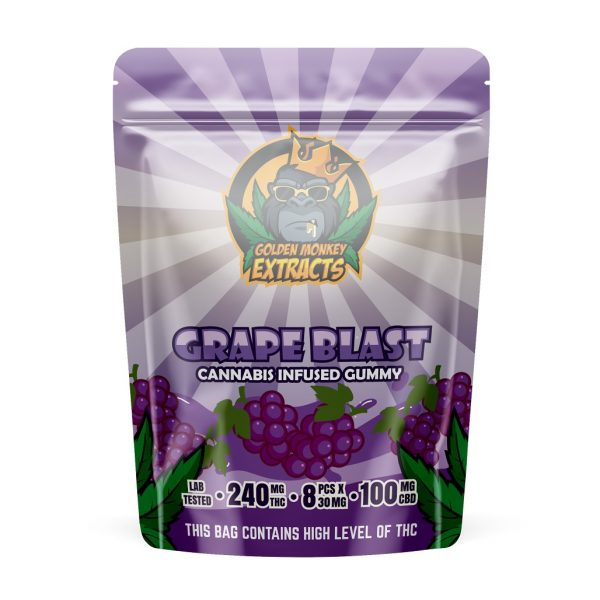 Buy Golden Monkey Extracts – Grape Blast Gummy 240mg THC : 100mg CBD online Canada