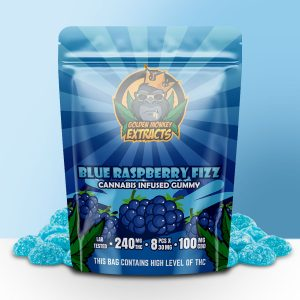 Buy Golden Monkey Extracts – Blueberry Fizz Gummy 240mg THC : 100mg CBD online Canada