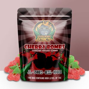 Buy Golden Monkey Extracts – Cherry Bombs Gummy 240mg THC : 100mg CBD online Canada