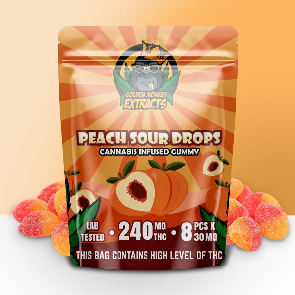 Buy Golden Monkey Extracts – Peach Sour Gummy 240mg THC online Canada