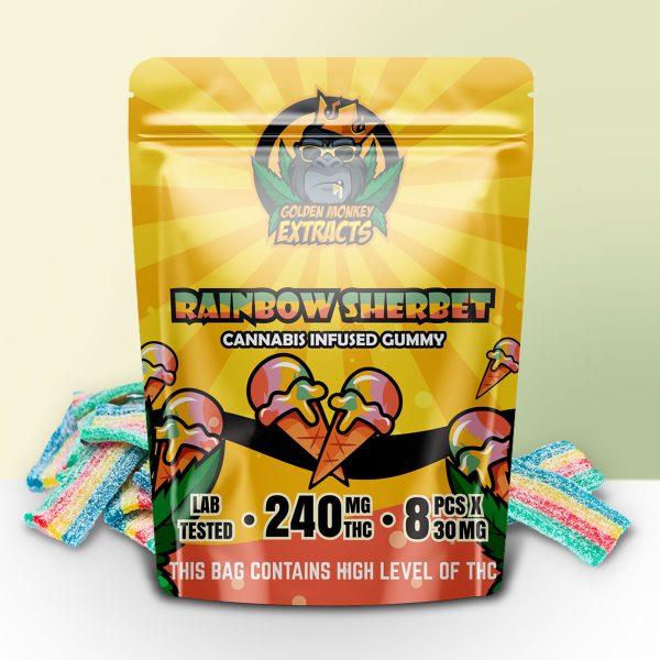Buy Golden Monkey Extracts – Rainbow Sherbet Gummy 240mg THC online Canada