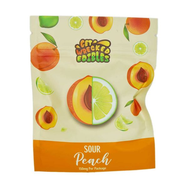 Buy Get Wrecked Edibles – Sour Peach 150mg THC online Canada