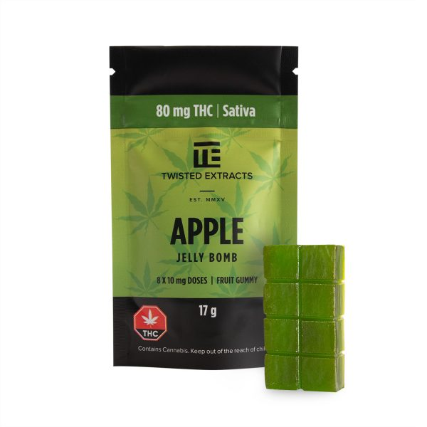 Buy Twisted Extracts THC Apple Jelly Bombs 80mg Sativa online Canada