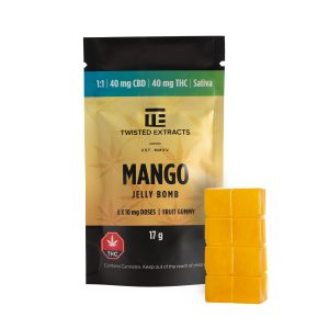 Buy Twisted Extracts Mango Jelly Bombs 1:1 40 THC 40mg CBD Sativa online Canada