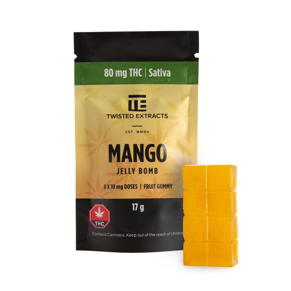 Buy Twisted Extracts Mango Jelly Bombs 80mg THC Sativa online Canada