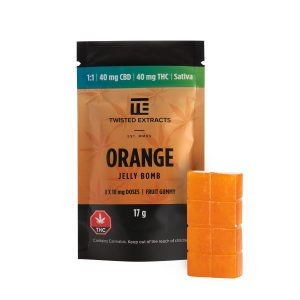 Buy Twisted Extracts Orange Jelly Bombs 1:1 40mg THC 40mg CBD Sativa online Canada