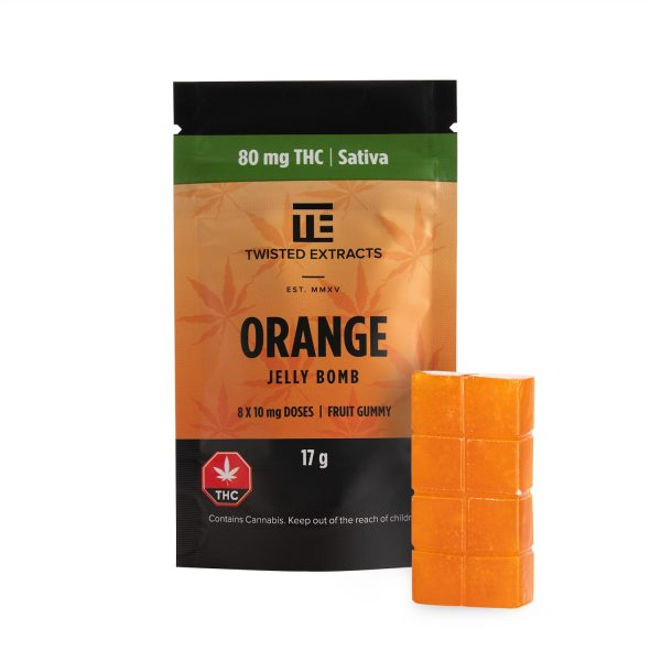 Buy Twisted Extracts Orange Jelly Bombs 80mg THC Sativa online Canada