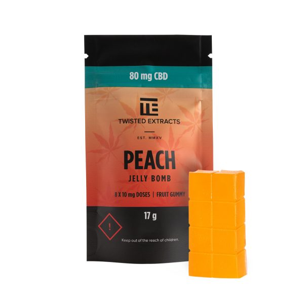 Buy Twisted Extracts Peach Jelly Bombs 80mg CBD online Canada