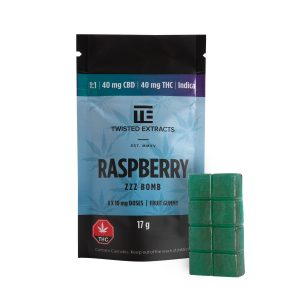 Buy Twisted Extracts Blue Raspberry Zzz Bomb 1:1 40mg THC 40mg CBD Indica online Canada