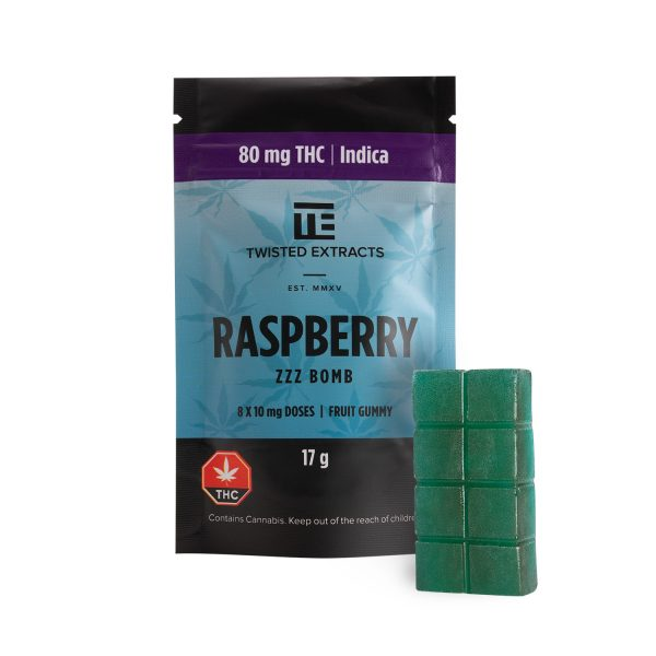 Buy Twisted Extracts Blue Raspberry ZZZ Bomb 80mg THC Indica online Canada