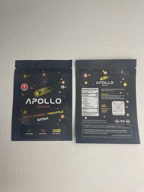 Buy Apollo Edibles – Peach Mango/Pineapple Shooting Stars 300mg THC Sativa online Canada
