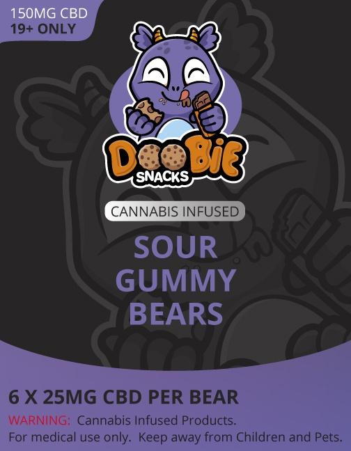 Buy Doobie Snacks – Sour Gummy Bears 150mg CBD online Canada