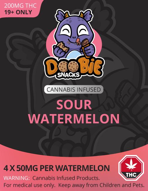 Buy Doobie Snacks – Sour Watermelon 200mg THC online Canada