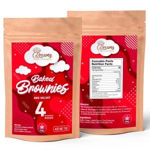 Buy Dreamy Delite Edibles Baked Brownies Red Velvet 400mg THC online Canada